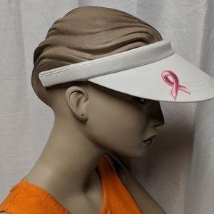 Pink Ribbon🎀 white visor Fight For A Cancer Cure